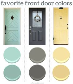 a Front Door Color Finding the perfect front door color can be tricky. Here are some of my favorites. Love the blue front doorFinding the perfect front door color can be tricky. Here are some of my favorites. Love the blue front door Yellow Front Doors, Front Door Paint Colors, Exterior Paint Colors For House, Painted Front Doors, Paint Colors For Home, Front Door Decor, Paint Colours, Yellow House Exterior, Painted Storm Door