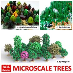 """@tipsandbricks on Instagram: """"#693 TECHNIQUE DISCUSSION: Microscale trees - Trees have always been a fun topic for LEGO building techniques; normally we share…"""" Lego Robot, Lego Mecha, Lego Bionicle, Lego Tree, Lego Hogwarts, Micro Lego, Lego People, Lego Construction, Lego Trains"""
