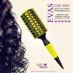 Escova Evas Profissional CMS-3005 - Amarela Cerâmica com cerdas mistas, natural e nylon Página: http://luxoebeleza.com.br/evas-escova-de-cabelo-profissional-cms-3005.html