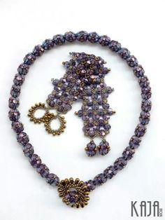 Set - Necklace pattern (excl. clasp) by Nicole Hublard, Bracelet pattern by Kovács Éva