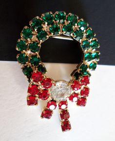 Vintage Gold Tone and Rhinestones Christmas Wreath Brooch. by Bestintreasures on Etsy