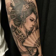 Geisha Tattoo | Main Piece for Sleeve | Background: Cherry Blossom Tree, Ancient Temple, and Scenery