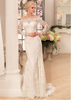 Buy discount Attractive Tulle & Lace Off-the-shoulder Neckline Sheath Wedding Dresses With Lace Appliques at Dressilyme.com