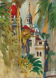 Don O'Neill Watercolor - Mission Inn Towers, $216.00 (http://www.dononeill.com/mission-inn-towers/)