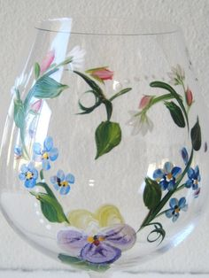 Hand painted wineglass with pansy Set of two by TivoliGardens, $24.00