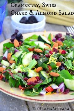 Cranberry, Swiss Chard & Almond Salad  TheHealthyApple.com #glutenfree #recipe #healthy