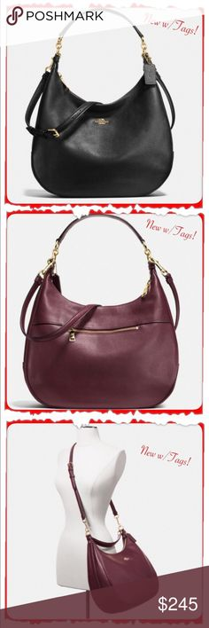 "🎁NWT COACH Harley Hobo Leather in Pebble Leather 🎁NWT COACH Harley Hobo Leather in Pebble Leather, Zip-Top Closure, Fabric Lining. *Inside Zip, Multifunction Pockets *Longer Strap with 22.5"" Drop For Shoulder or Crossbody Wear *Handle w/ 11.75"" Drop Outside Zip Pocket *Approx. 14 1/4"" (L) x 10"" (H) x 4 1/2"" (W) **Photo 4 is actual packaging bag is in & will also come w/COACH RETAIL TAGS ATTACHED**** ***This bag is BLACK, used other photos to get different angles of Purse. Price firm. Coach…"