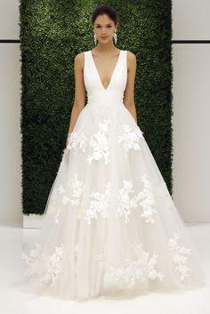 Deep V Floral Tulle Wedding Bridal Gown Dress