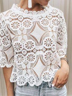 Women's Short Five-Piece Lace Collar Hollow Blouse Black Lace Blouse, Lace Blouse Styles, Plus Size Blouses, Plus Size Tops, Loose Shirts, Half Sleeve Shirts, Half Sleeves, Short Sleeves, Summer Blouses