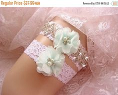 SUMMER SALE Bridal Garter, Wedding Garter Set, Mint Green Garter Prom Garter…
