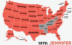 Map: Six Decades of the Most Popular Names for Girls, State-by-State » This is really neat, somehow Bridgette did not make any list! :)