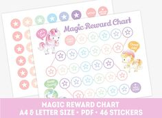 Printable unicorn reward chart, pony behavior chart for girl, discipline chart + 46 reward stickers, kids reward chart, habit tracker