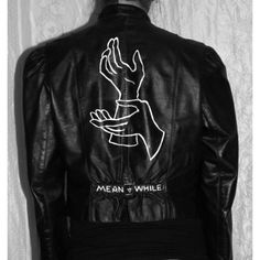 Meanwhile Twin Peaks Hand-Painted on Vintage Leather Jacket ($125) ❤ liked on Polyvore featuring outerwear, jackets, dark olive, women's clothing, olive jacket, green military jacket, army green jacket, olive green jacket and vintage leather jacket