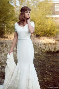 We love vintage wedding gowns, especially those with charming, otherworldly qualities. And just the thing to bring that enchanting vintage inspired magic Vintage Style Wedding Dresses, Wedding Gowns, Gowns With Sleeves, Short Sleeves, Infinity Wedding, Wedding Inspiration, Wedding Ideas, Magic Circle, 1940s Fashion
