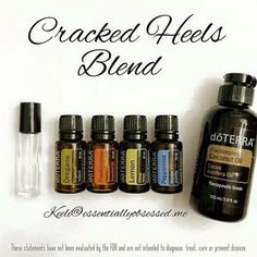 Cracked Heals Blend In a 10ml rollerball: 3 drops Oregano 3 drops Frankincense 5 drops Lemon 5 drops Peppermint Top with Fractionated Coconut Oil and massage into heels morning and night - put on socks right after if possible!
