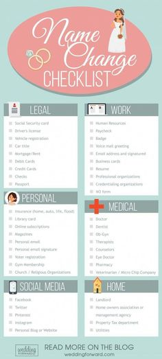 Wedding Checklist last name name change checklist after marriage wedding - Wedding planning infographics will help you to create a dream wedding and won't be missing out on anything. They are useful and convenient. Before Wedding, Post Wedding, Wedding Tips, Dream Wedding, Camo Wedding, Wedding Hacks, Wedding Stuff, Trendy Wedding, Wedding To Do List
