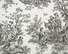 Colonial Black by Premier Prints classic black and white toile fabric
