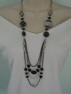 Long Chunky Black Beaded Necklace Multi Strand by RalstonOriginals, $15.00