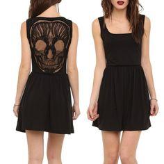 Black Lace Skull Applique Dress - My Sugar Skulls