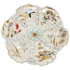 Antique, Japanese Satsuma Oyster plate at 1stdibs