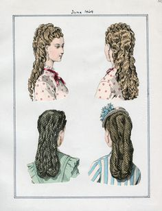LAPL, June 1869-- I could totally pull off the bottom right one! For my early bustle gown.