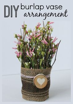 Create your own burlap vase flower arrangement with 4 supplies and 4 easy steps!  www.thedempsterlogbook.com