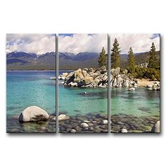 3 Pieces Wall Art Painting Lake Tahoe Clear Water Cloud Snow Mountain Rocks Trees Pictures Prints On Canvas Landscape The Picture Decor Oil For Home Modern Decoration Print For Kids Room So Crazy Art http://www.amazon.com/dp/B00M931NFC/ref=cm_sw_r_pi_dp_znFsub0B9R488