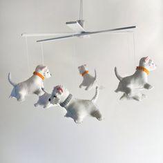 Booton Smith Westie felt mobile by Eleni Creative Westies, Westie Dog, Dog Love, Puppy Love, Schnauzer, Elephant Mobile, West Highland White, West Highland Terrier, White Terrier