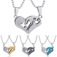 2PCs Couple Tone Heart Girlfriend Lovers Stainless Steel Chain Necklace colar gargantilha bijuterias collier Jewelry
