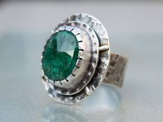 Green emerald ring-Gemstone ring-Green ring-Birthstone jewelry-Artisan ring-Sterling silver ring-Green jewelry-Unique-One of a kind-SIZE8 US