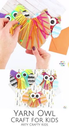 Fall Crafts For Toddlers, Yarn Crafts For Kids, Animal Crafts For Kids, Easy Arts And Crafts, Toddler Crafts, Preschool Crafts, Halloween Crafts For Kids, Crafty Kids, Camping Crafts