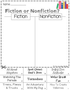 Fiction vs. Nonfiction Venn Diagram | Graphic organizers ...