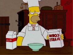 Season 7, Episode 17: Homer, the chef, whips up a fiery bowl of cereal for breakfast.