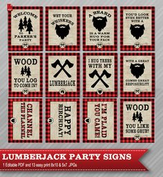 Lumberjack party signs – Lumberjack party decor – Lumberjack Signs – Lumberjack birthday decorations – A beard is a warm hug Printable Lumberjack Party Signs. Mega Pack Everything you need to throw a spectacular . Lumberjack Birthday Party, Man Birthday, First Birthday Parties, First Birthdays, Birthday Ideas, Summer Birthday, Mega Pack, Throw A Party, Party Signs