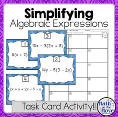 Get your students moving!  Great activity for Scoot!Place the 30 task cards around the room.  Students move from problem to problem, copying the expressions and simplifying them.  Expressions include negative integers.This is a great activity for differenciated instruction, or to check for student understanding!