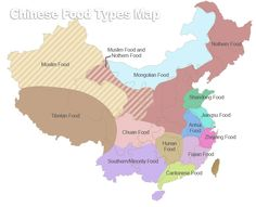 This map shows the geographic distribution of Chinese cuisines.