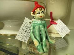 Adorable christmas pixie elf from Vendor 337 in booth 244. Priced at 10.00. Available at The Brass Armadillo Antique Mall - WheatRidge, CO! (303) 403-1677.