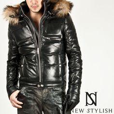 Newstylish Mens s M L Casual Lambskin Raccoon Hooded Down Leather Parka Jacket   eBay