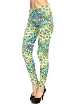 Elegant4U Junior's Printed Luck of the Paislet Pattern Fashion Leggings