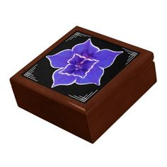 Art Deco-ish Balloon Flower - Purple on Black - The ceramic tile lid on this hinged, wooden gift box features a stunning original digital painting by Leslie Sigal Javorek of a dramatic purple Morning Glory flower w/ feather white borders, on solid black w/ classic Art Deco corners. Fully lined perfect for jewelry, coins, buttons, love letters, etc. #art_deco_jewelry_box #art_deco_wooden_box