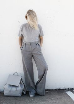 All grey everything. Office pants. Found on www.the-aesthet.com