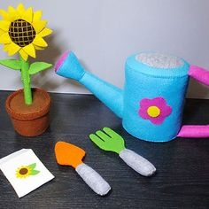 Felt patterns - my little gardener set - watering can, sunflower in pot, shovel, rake, seed packet (patterns and instructions via email)