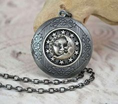 Celestial Sun Moon and Stars Locket Necklace by TempletonTreasures, $25.00