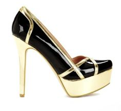 #Sexy Black and Gold High Heels