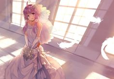 1918x1326 - yuzuki yukari, wedding dress, bride, purple hair, vocaloid, smiling, feathers # original resolution