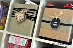 Cover cardboard boxes with brown paper or fabric (trim edges with bias tape) to make way cheaper basket substitutes