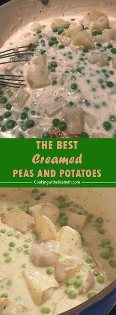 Creamy Red Potatoes and Peas is an old fashioned, classic recipe with potatoes and peas in a delicious cream sauce. It's a wonderful side dish for any time of year. Potatoes And Peas Recipe, Creamed Peas And Potatoes, Canned Potatoes, Pea Recipes, Potato Recipes, Cooking Recipes, Potato Dishes, Side Recipes, Dinner Recipes
