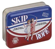 Nostalgic toy tin features a classic game from our childhood. Includes a nine foot skip rope with high quality wooden handles and a  20 page handbook with skipping rhymes.  Packaged in a recycled metal tin, entirely made in Pennsylvania by Channel Craft
