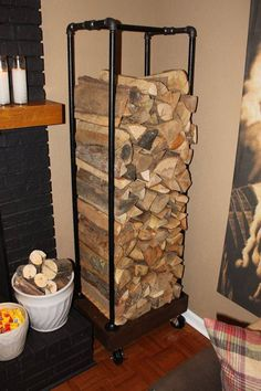 Plumbing pipe Fire wood rack