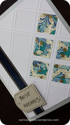 handmade birthday card ... embossed grid using scoreboard ... inchies ... patterned paper squares ... great card!